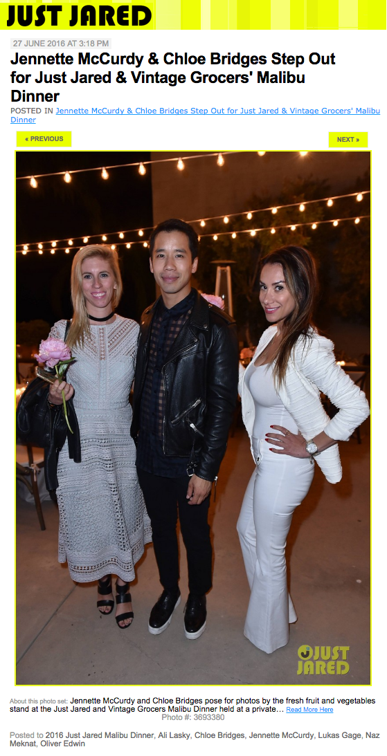 Just Jared & Vintage Grocers' Malibu Dinner