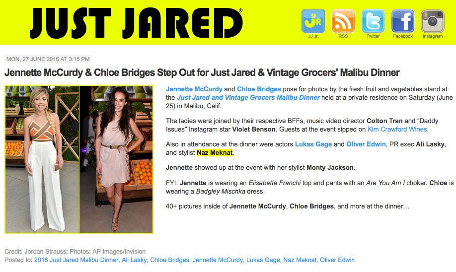 Los Angeles Stylist Naz Meknat on JustJared