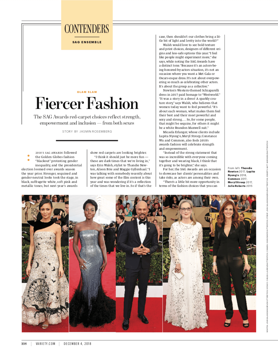 Variety: Fiercer Fashion The SAG Awards red-carpet choices reflect strength, empowerment and inclusion — from both sexes