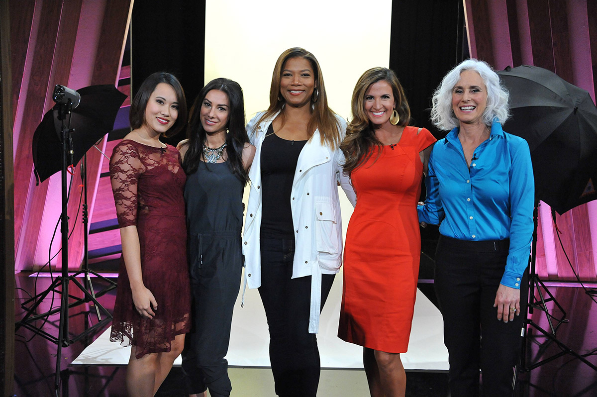"Naz and winners of PEOPLE's ""Real Beauties"" on the Queen Latifah Show!"