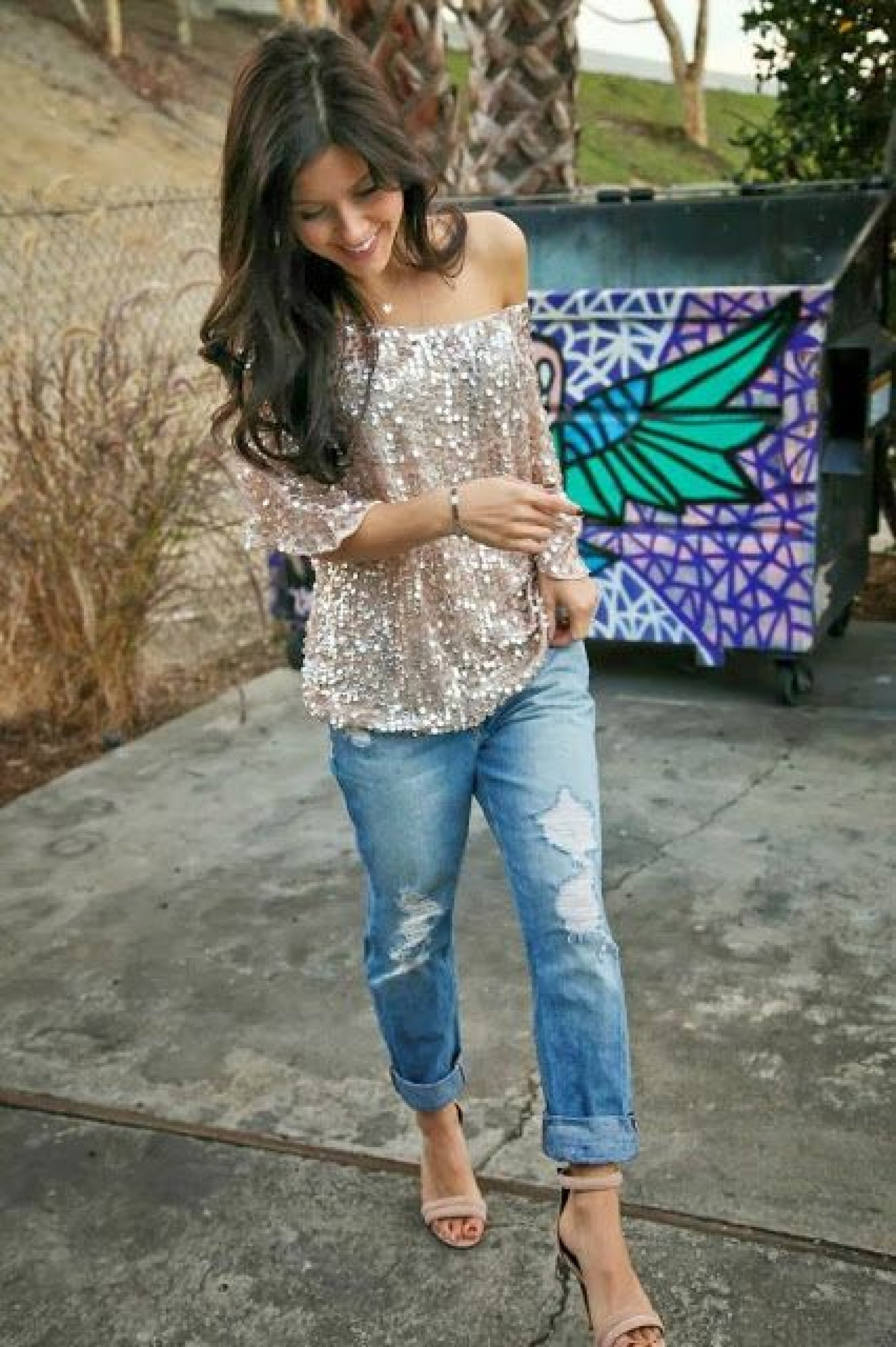Boyfriend jeans, Sequin top and heels