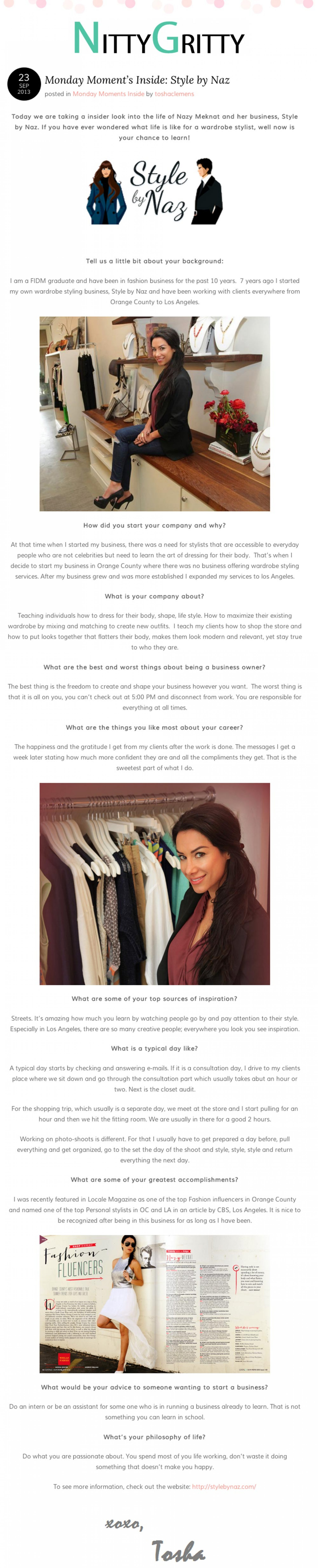 Naz featured on the Nitty Gritty Fashion blog