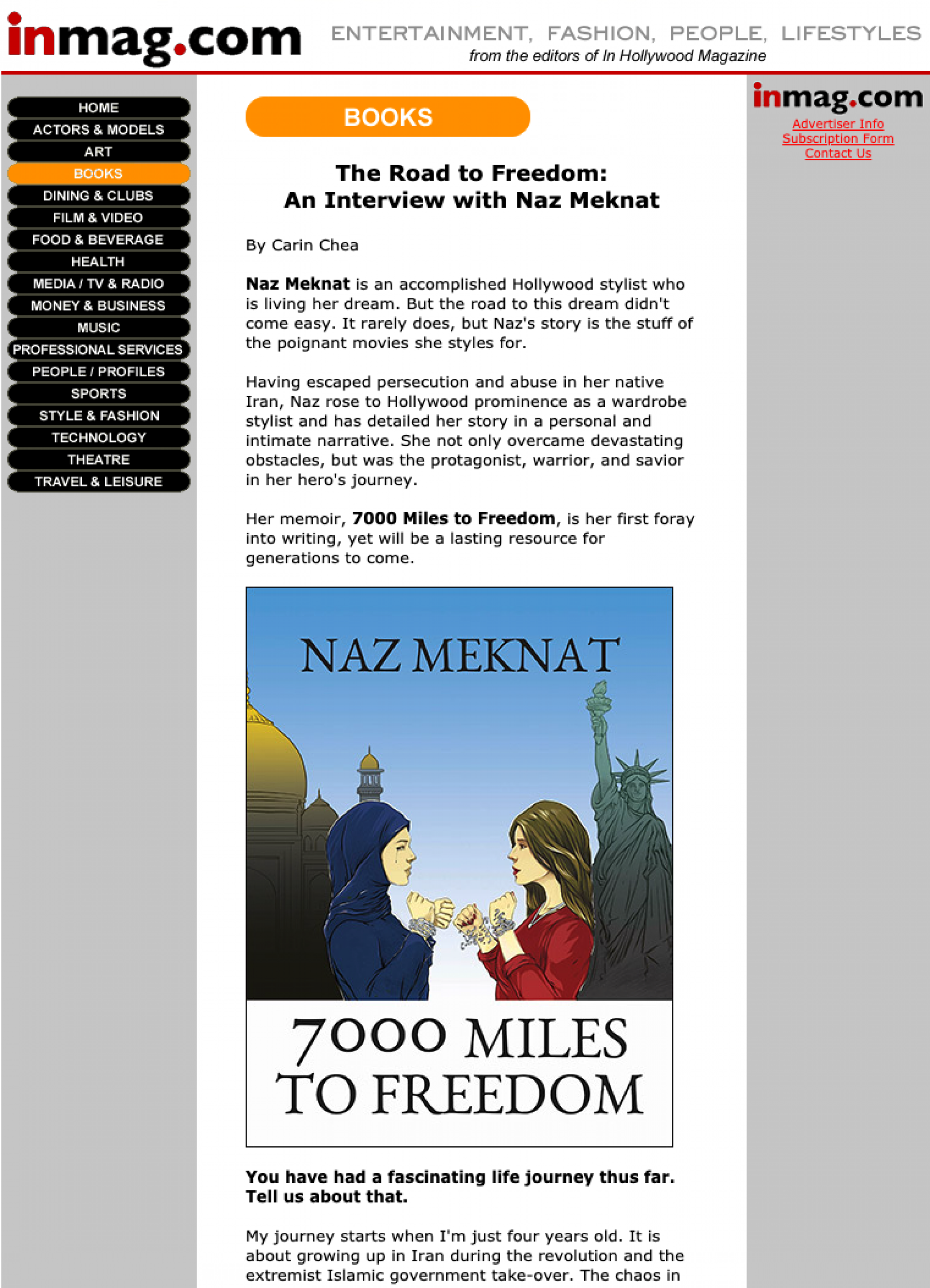 InMag: The Road to Freedom: An Interview with Naz Meknat